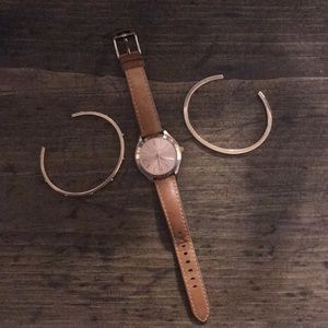 Michael Kors leather watch with matching bracelets